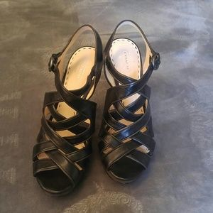 Coach Heels Shoes Sandals Black Leather Strap
